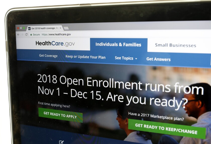 The Healthcare.gov website is seen on a computer screen Wednesday, Oct. 18, 2017, in Washington. The Trump administration says consumers can start previewing plans and premiums online for health insurance under the Affordable Care Act in 2018.