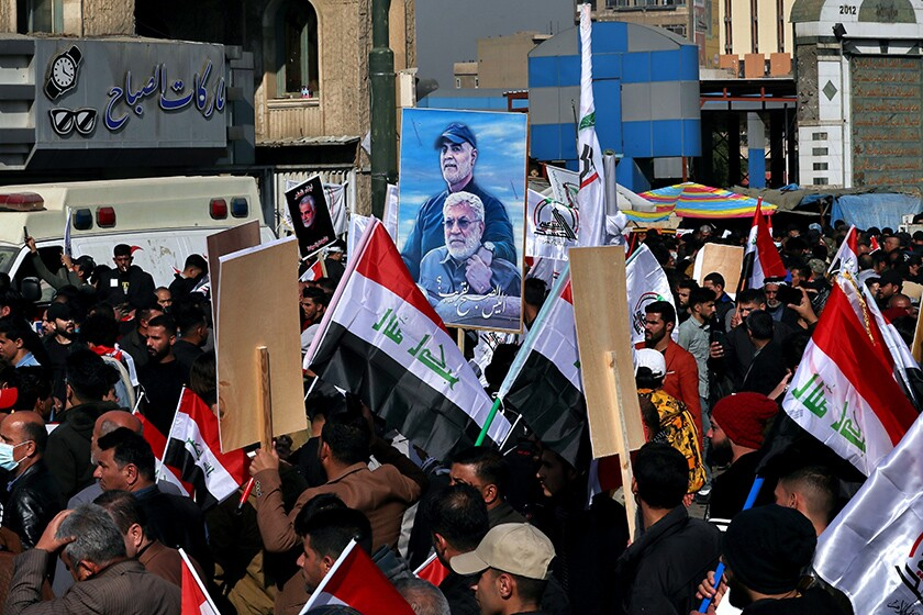 Rally in Baghdad marking the one-year anniversary of the deaths of an Iranian general and top Iraqi militia leader.