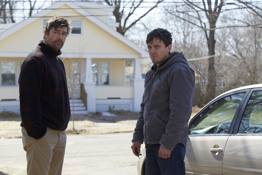"""Kyle Chandler, left, and Casey Affleck in a scene from writer-director Kenneth Lonergan's """"Manchester by the Sea,"""" which was picked up by Amazon at this year's Sundance Film Festival."""