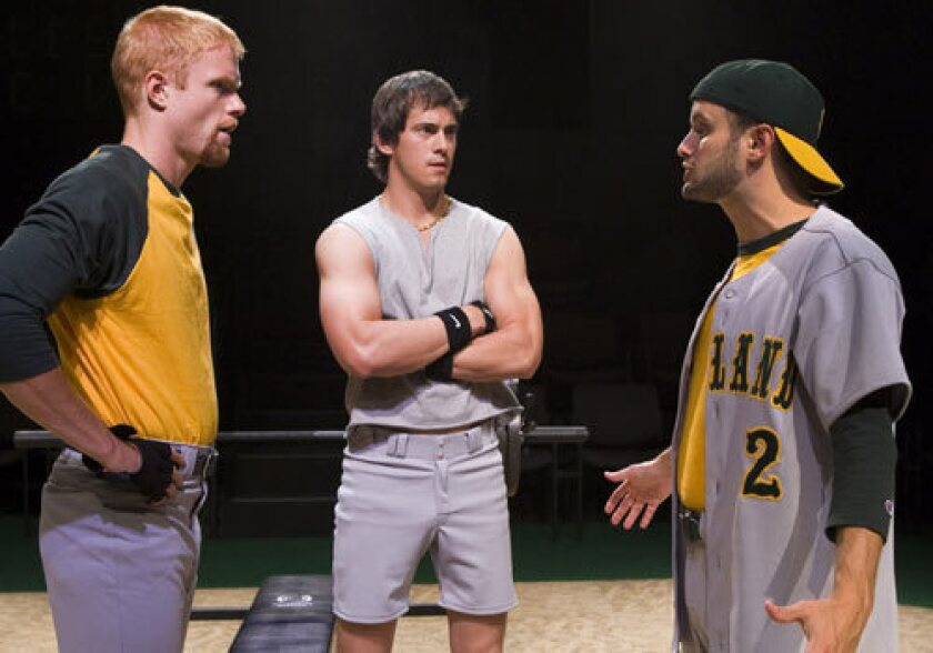 """TRIPLE PLAY: Brendan Griffin (left), Joaquin Perez-Campbell (center), Nick Mills (right) perform in The Old Globe's production of """"Back, Back, Back,"""" by Itamar Moses, currently playing in the Globe's Arena Theatre at the San Diego Museum of Art."""
