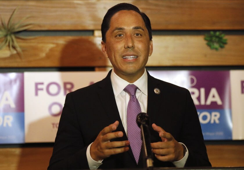 San Diego mayoral candidate Todd Gloria gives a speech at an election event Tuesday night.
