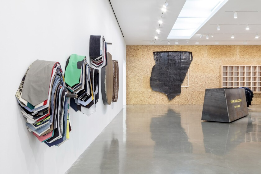 "Installation view of Theaster Gates' ""Line Drawing for Shirt and Cloak"" at Regen Projects, Los Angeles."