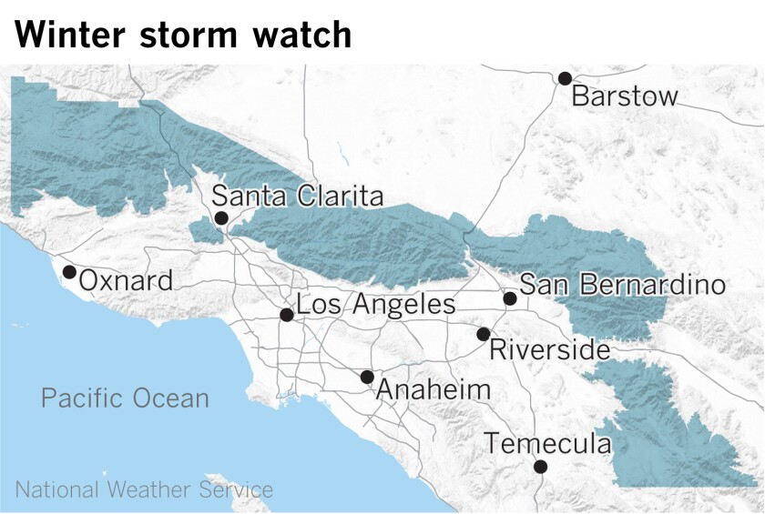 Map showing winter storm watch areas in Southern California mountains