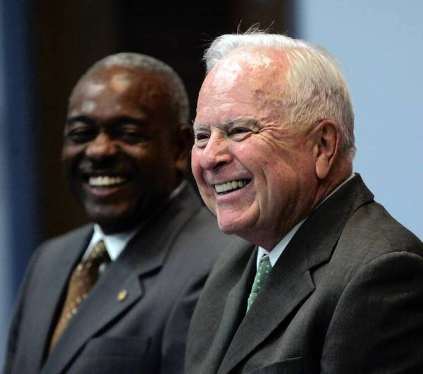 Former L.A. Mayor Richard Riordan, right, had proposed a city ballot measure that would have transitioned city workers from fixed pension benefits to 401(k)-style benefits.