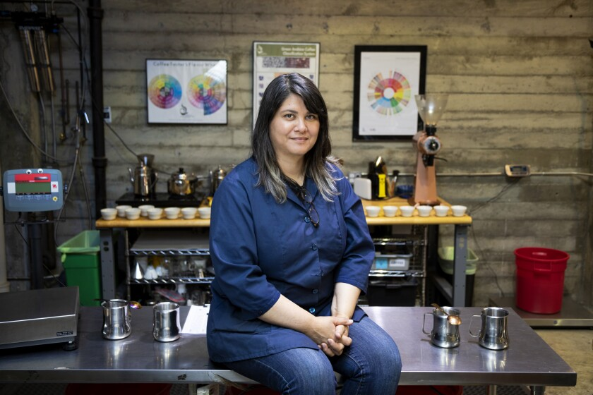 Co-owner Trish Rothgeb at Wrecking Ball Coffee Roasters