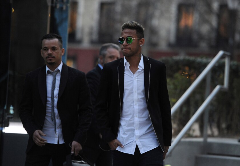 MADRID, SPAIN - FEBRUARY 02: Neymar of FC Barcelona leaves the National Court on February 2, 2016 in Madrid, Spain. Neymar was giving evidence over allegations of corruption and fraud surrounding his transfer to FC Barcelona. (Photo by Denis Doyle/Getty Images) ** OUTS - ELSENT, FPG, CM - OUTS * NM, PH, VA if sourced by CT, LA or MoD **