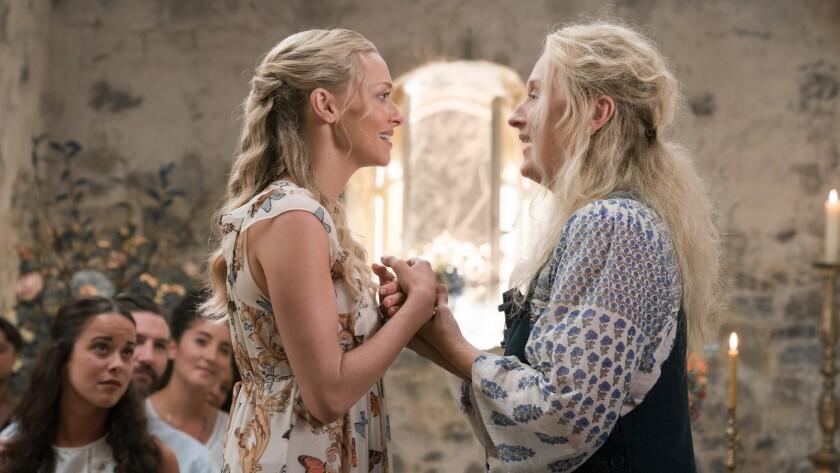 "Amanda Seyfried, left, and Meryl Streep in ""Mamma Mia! Here We Go Again,"" a musical based on the songs of ABBA."