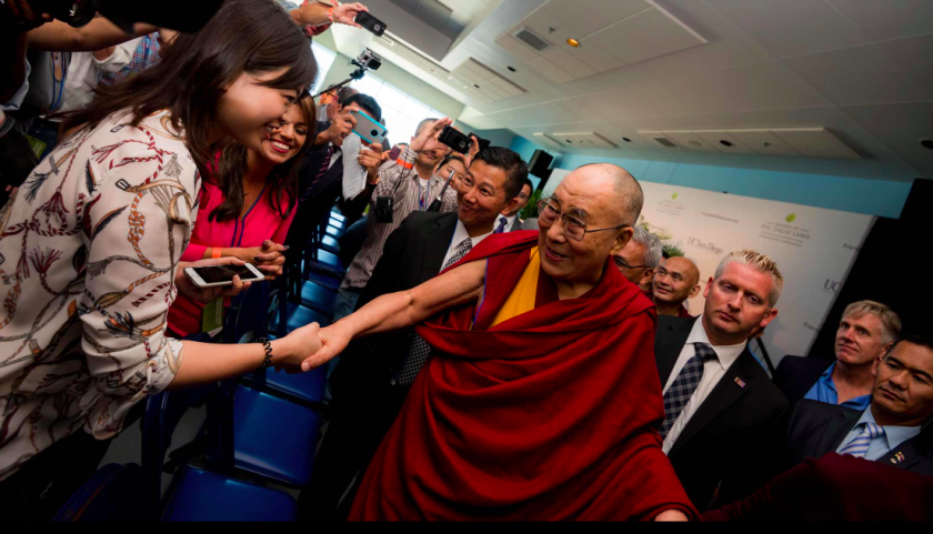 The Dalai Lama drew large crowds when he visited UC San Diego in 2017.