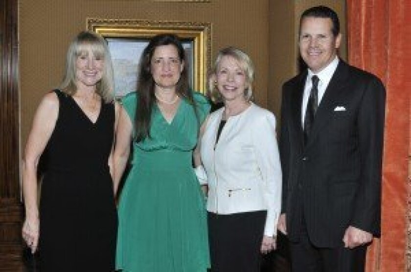 """Literary Society President Candace Humber, """"The Lady in Gold"""" author Anne-Marie O'Connor, Northern Trust Wealth Strategist and chapter leader Gayle Allen, Northern Trust San Diego region President John Ippolito. Photo/McKenzie Images"""