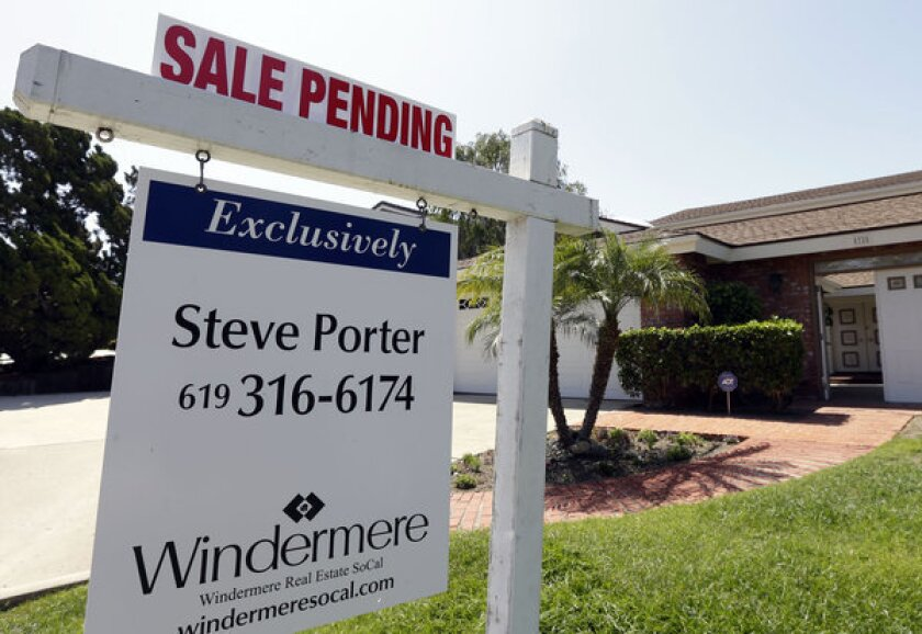 A photo taken in August shows a home with a sale pending in San Diego.