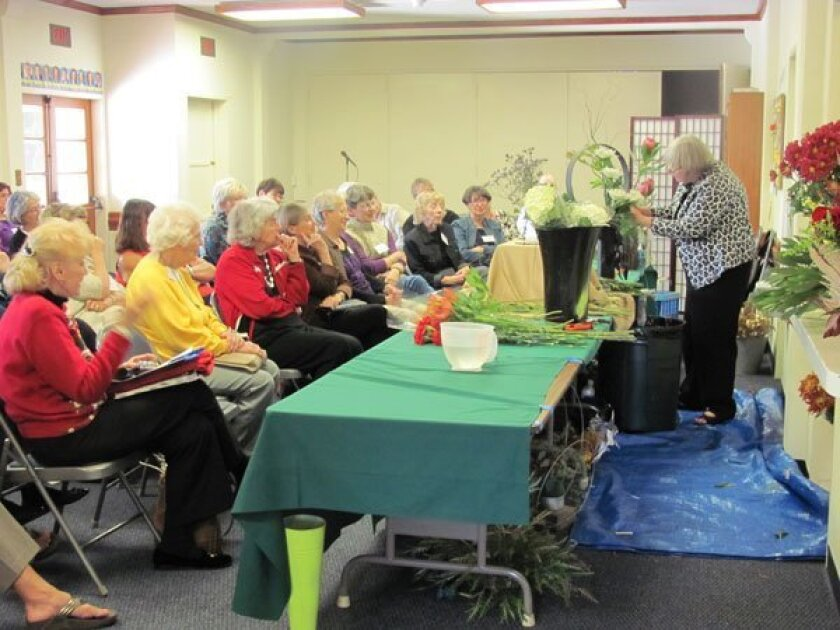 La Jolla Garden Club members watch and learn from designer Carvill Leach
