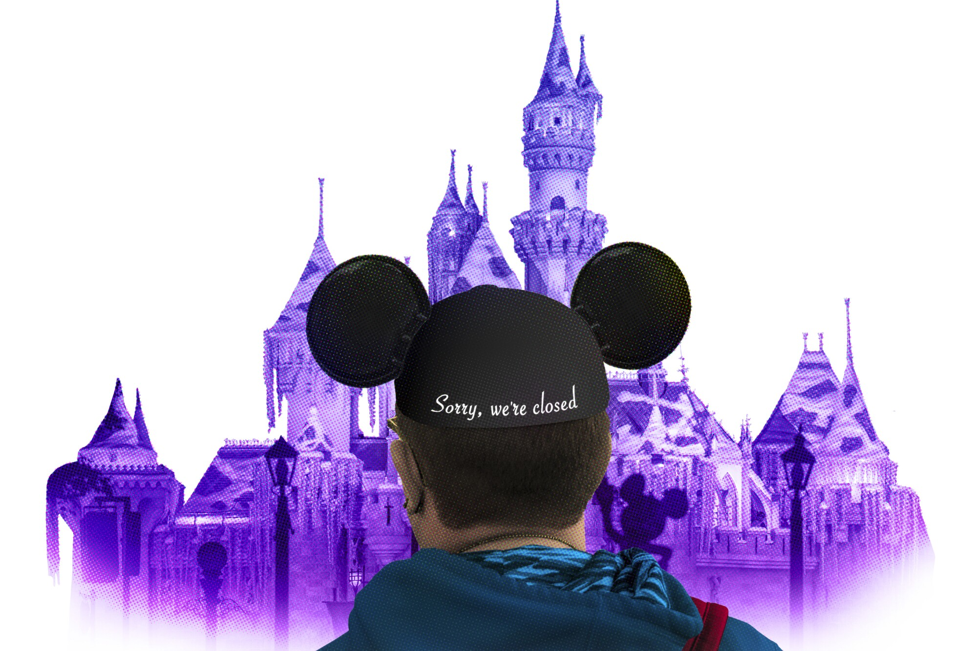 """A photo illustration shows the back of a mouse-ears cap with """"Sorry, we're closed"""" stitched on it."""