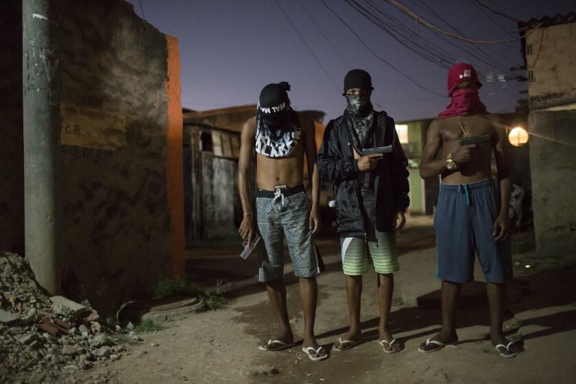 Young drug traffickers in a slum in Rio de Janeiro.