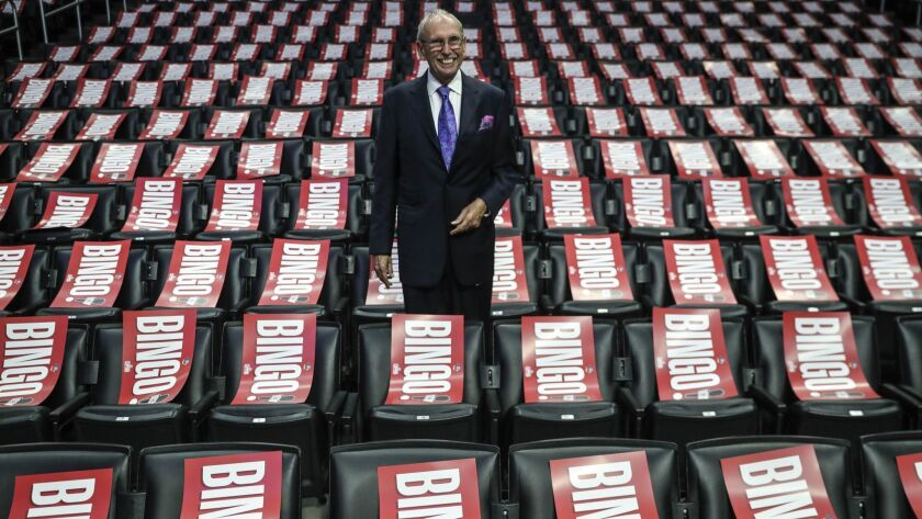 LOS ANGELES, CA, WEDNESDAY, APRIL 10, 2019 - Clippers broadcaster Ralph Lawler poses for photos amid