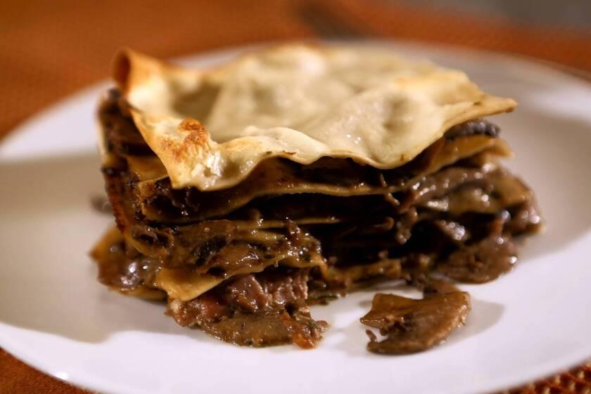 Mushroom and ham lasagna is made with fresh pasta. Recipe: Ham and mushroom lasagna