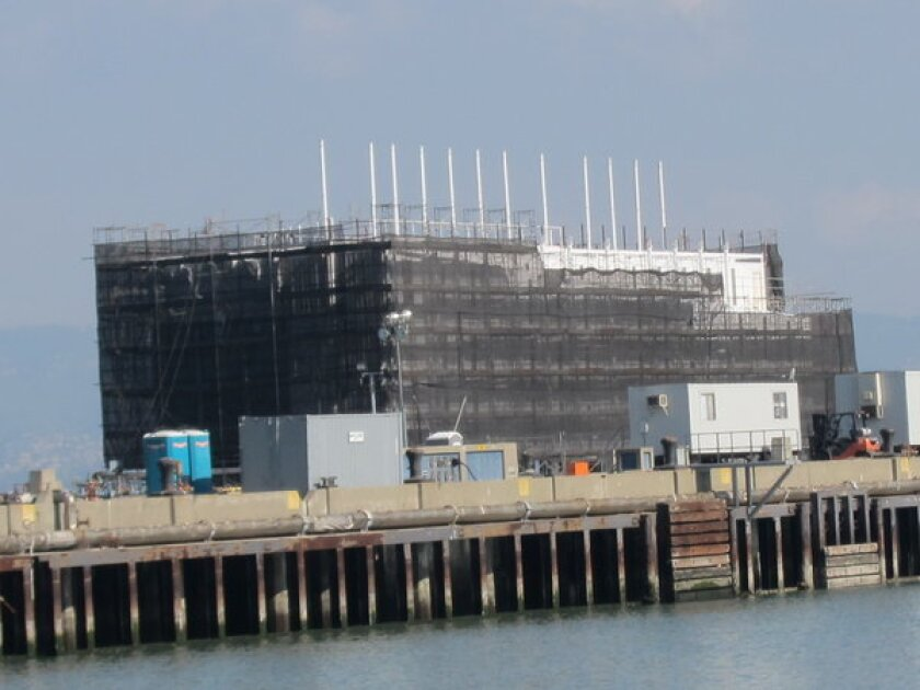 The Google mystery barge on Pier 1 on Treasure Island.