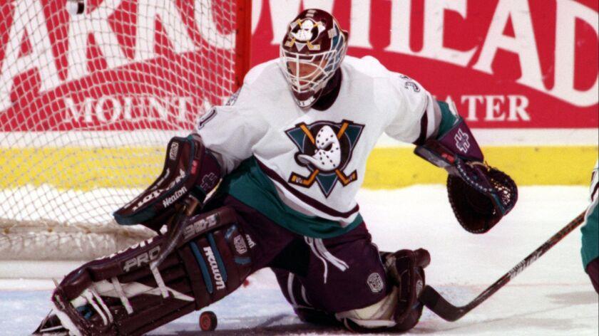 Ducks goalie Guy Hebert shutout the Chicago Blackhawks at the Arrowhead Pond of Anaheim Nov. 29, 1996.