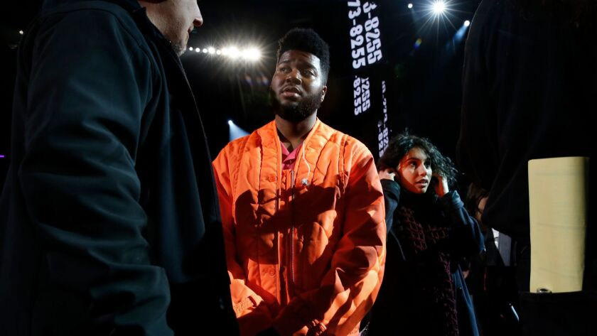 NEW YORK, NEW YORK--JAN. 26, 2018--Khalid, and Alessia Cara rehearse for the 60th Annual Grammy Awar