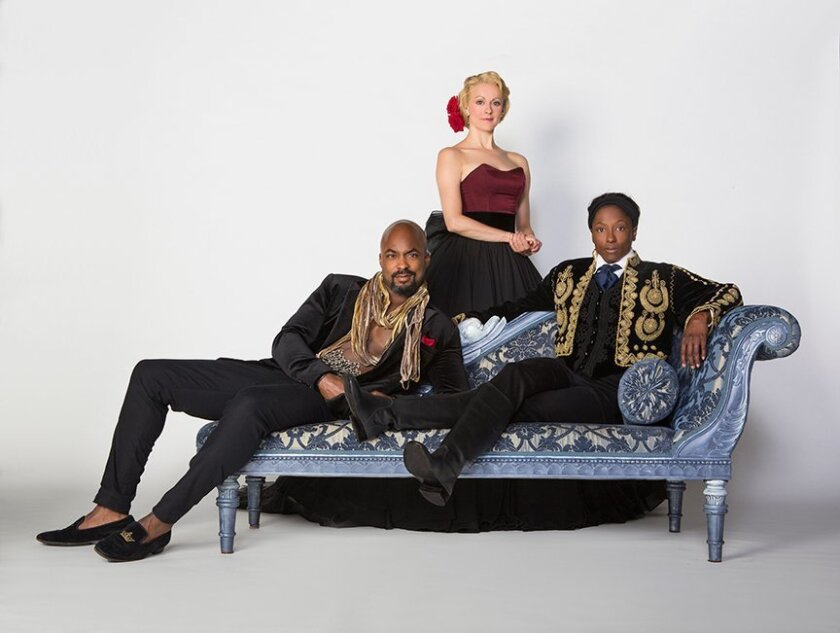 """Terence Archie, Sara Topham and Rutina Wesley star in the Old Globe Theatre's """"Twelfth Night."""""""
