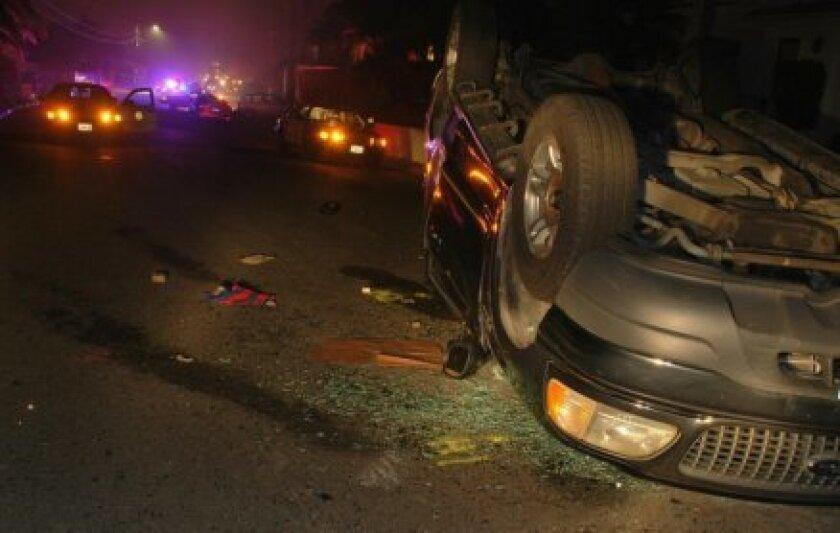 The scene of the Oct. 26 rollover crash on north Muirlands Vista Way involving 16 La Jolla High School students. Courtesy San Diego Police