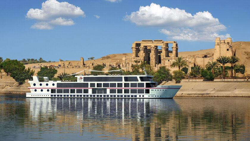 A rendering of the Viking Ra on the Nile River near the Temple of Sobek and Haroeris in Kom Ombo, Eg