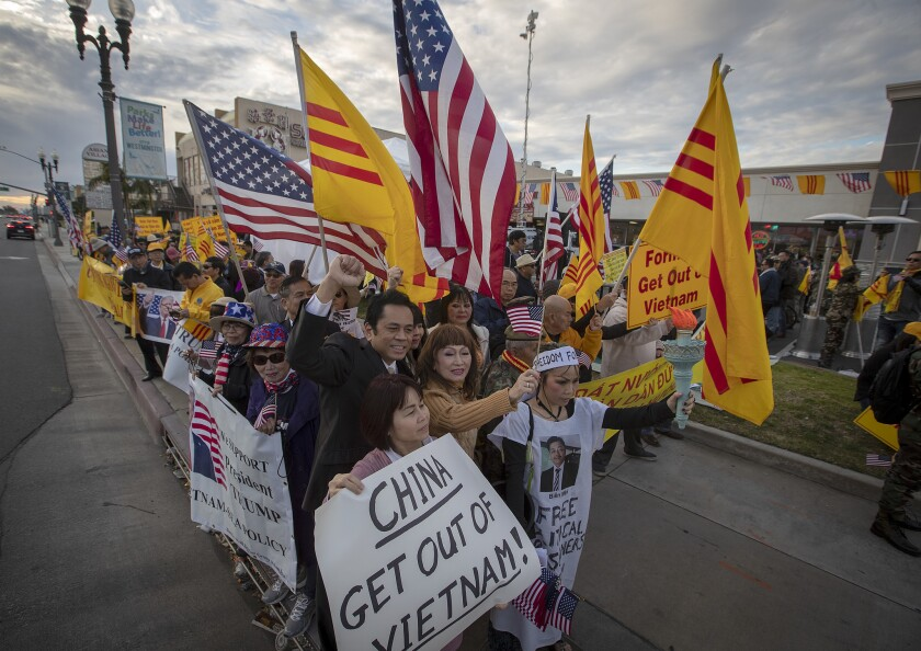 Vietnamese American protesters demonstrate in Westminster over human rights in Vietnam on Feb. 26, 2019.