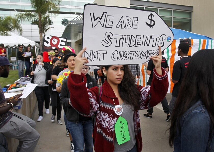 Cal State Northridge student Karen Gonzalez joins fellow CSU students demonstrating against so-called student success fees at a protest in November in Long Beach.
