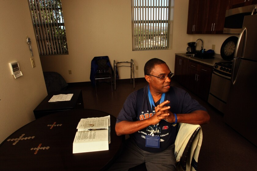 U.S. Air Force veteran Willie Edward Turnipseed, 55, in his new apartment at the New Directions Sepulveda affordable permanent supportive housing for homeless and special needs veterans at Sepulveda VA in North Hills.