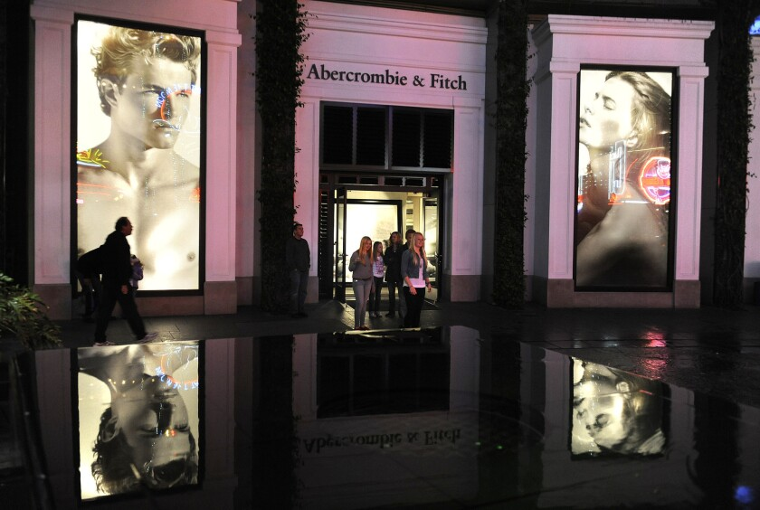 Shoppers at Abercrombie & Fitch at Universal City Walk in Los Angeles.