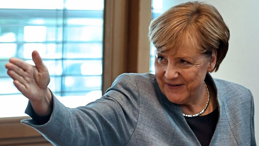 German Chancellor Angela Merkel arrives for a Christian Democratic Union board meeting in Berlin on