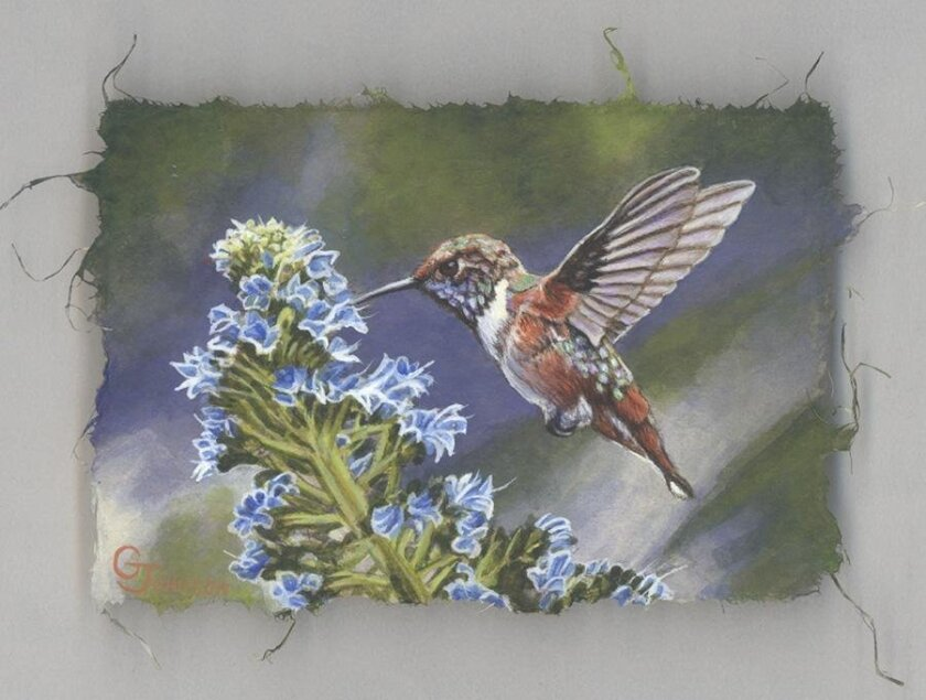 Encinitas artist Gary Johnson created this piece, Allen's Hummingbird, using the technique he created in which he paints with mixed media on silk paper.