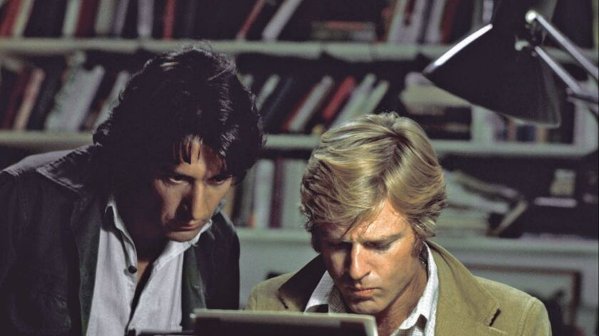 """Robert Redford, right, and Dustin Hoffman in the 1976 film """"All the President's Men."""""""