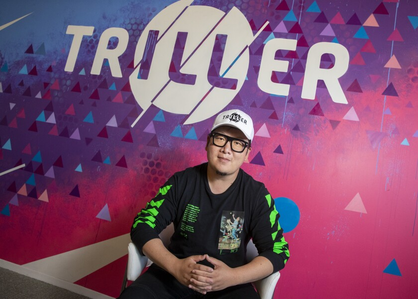 Triller CEO Mike Lu at Triller's office in Century City.