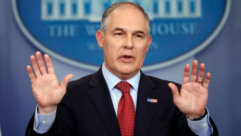 EPA Administrator Scott Pruitt speaks to the media at the White House on June 2, 2017.