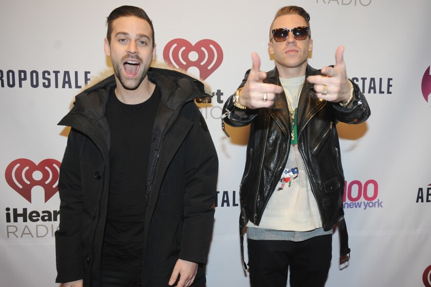 """""""The Heist"""" by Macklemore & Ryan Lewis (that's Lewis on the left) was the year's most-played album worldwide, according to Rdio."""