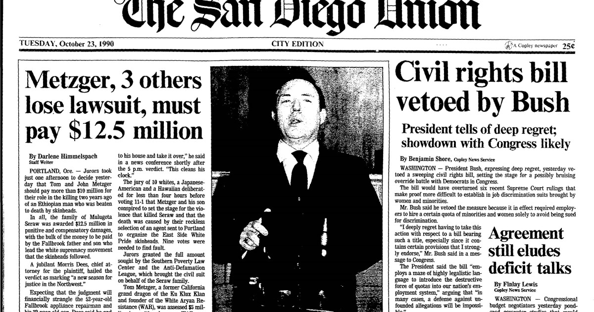 From the Archives: Recalling a $12.5-million judgment against White supremacists 30 years ago