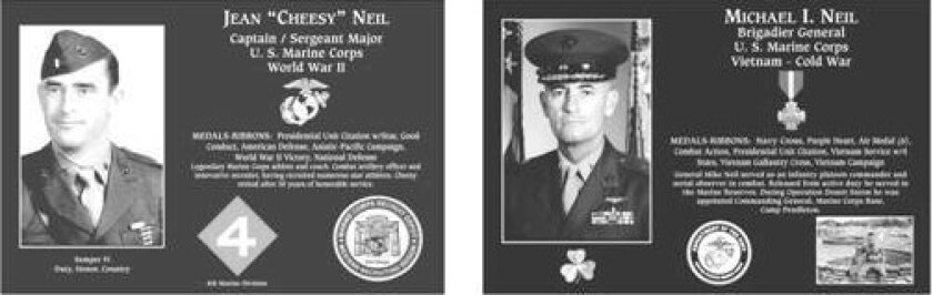 """Plaques honoring the late Marine Sergeant Major Jean """"Cheesy"""" Neil, and his son, Marine Brigadier General Mike Neil, will be unveiled during the May 15 ceremony. Courtesy"""