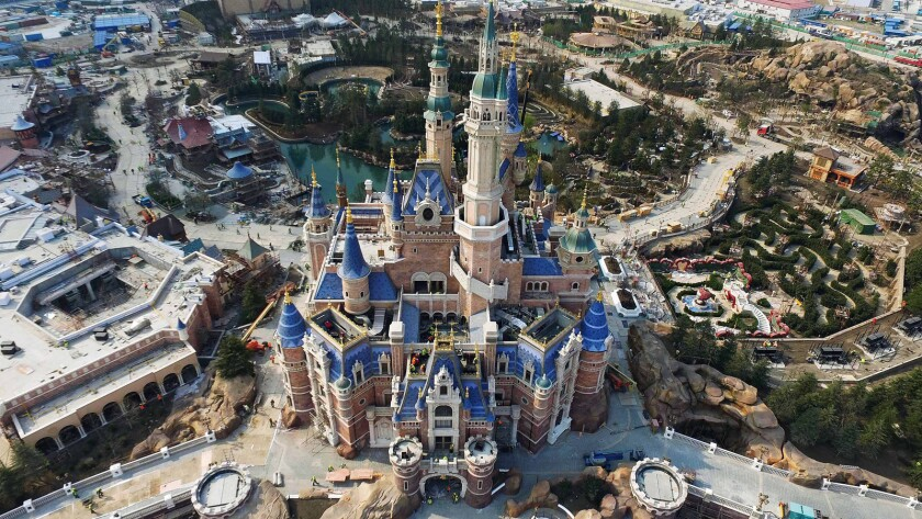 An aerial view of the Enchanted Storybook Castle at Shanghai Disneyland in China.