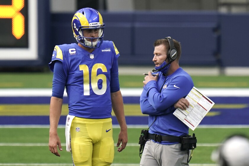 Rams coach Sean McVay talks to quarterback Jared Goff during a game against the Giants on Oct. 4, 2020.
