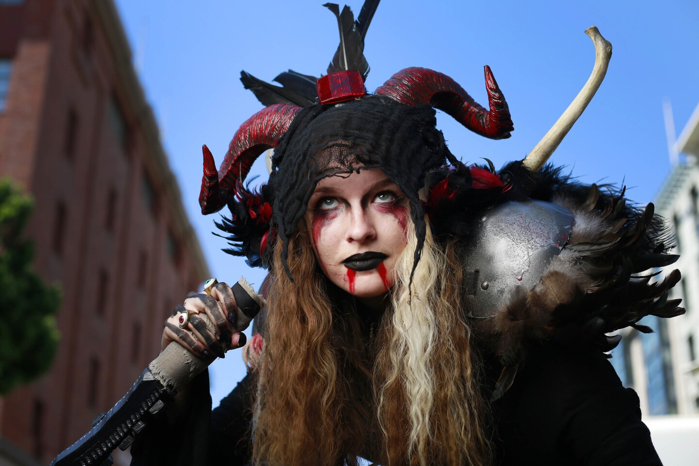 Emily Richardson of Riverside dressed as a Apocalypse LARP character at Comic-Con in San Diego on July 21, 2017. (Photo by K.C. Alfred/The San Diego Union-Tribune)