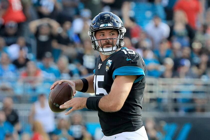 Jaguars quarterback Gardner Minshew looks to pass against the Buccaneers on Dec. 1, 2019.