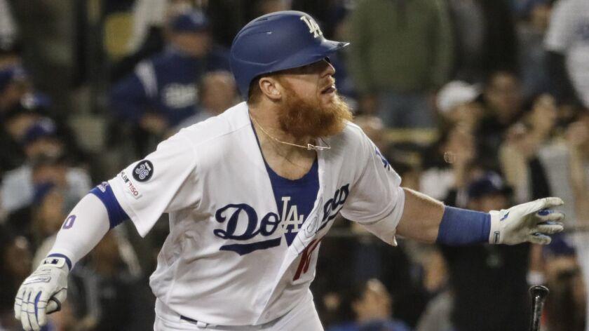LOS ANGELES, CA, TUESDAY, MAY 7, 2019 -- Dodgers third baseman Justin Turner hits his second homer