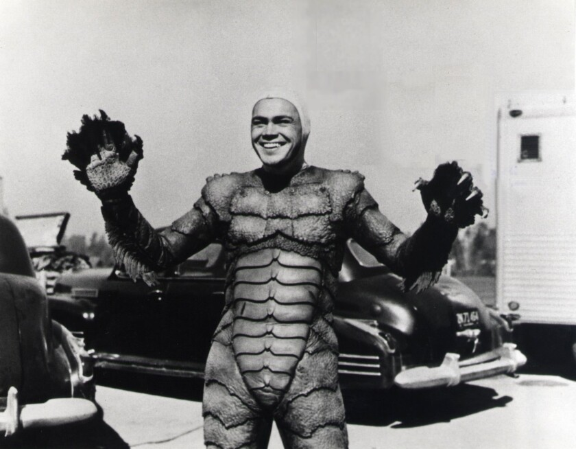 """Handout photo of Ben Chapman in costume, except for the head piece, for the title character in """"The"""