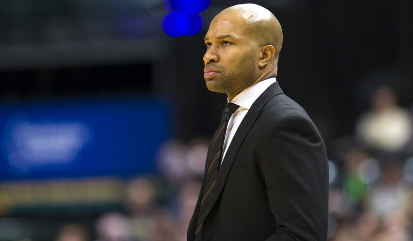 Coach Derek Fisher faces his old team Thursday night when his New York Knicks play the Lakers.