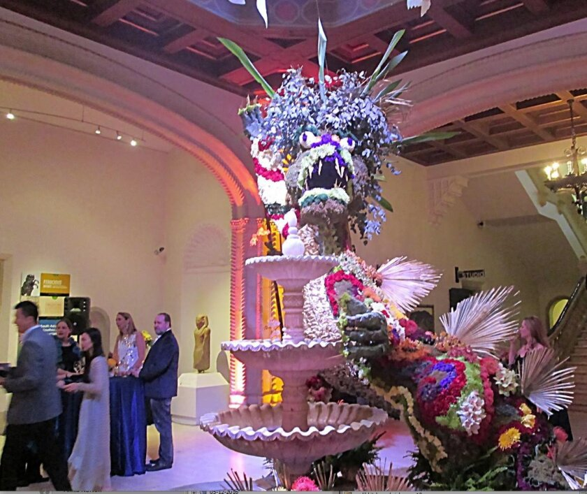 The dragon in the San Diego Museum of Art's rotunda, designed by Ben Lucero and Jim Lennox from Pacific Event Productions.