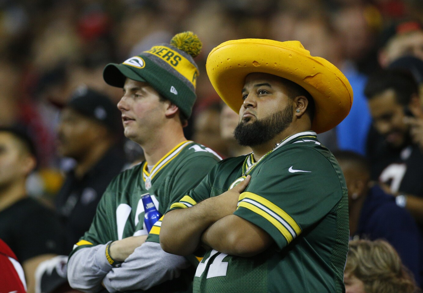 Jan 22, 2017; Atlanta, GA, USA; Green Bay Packers fans react during the fourth quarter against the Atlanta Falcons in the 2017 NFC Championship Game at the Georgia Dome. Mandatory Credit: Brett Davis-USA TODAY Sports ** Usable by SD ONLY **