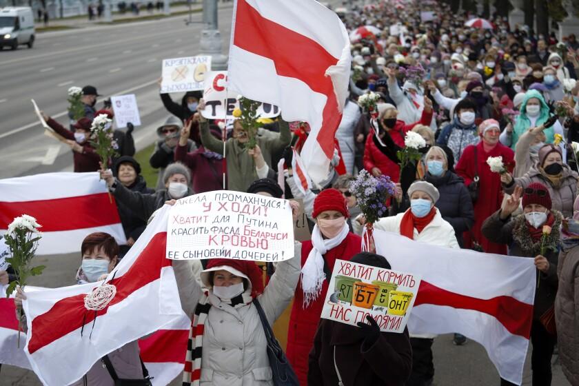 Retirees rally in Minsk, Belarus, on Monday