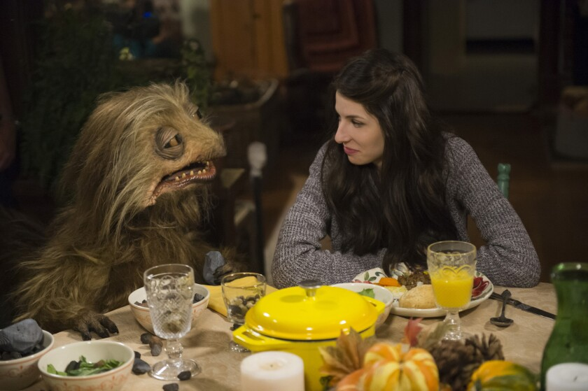 """Burble and Annie (Genevieve Buechner) celebrate a holiday Jim Henson-style in """"Turkey Hollow"""" on Lifetime."""