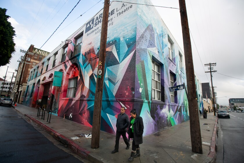 The colorful exterior of Art Share L.A., a community art space in the Arts District.