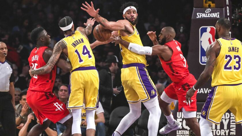 LOS ANGELES, CA, THURSDAY FEBRUARY 21, 2019 - Rockets guard Chris Paul tries to get a pass by Lakers